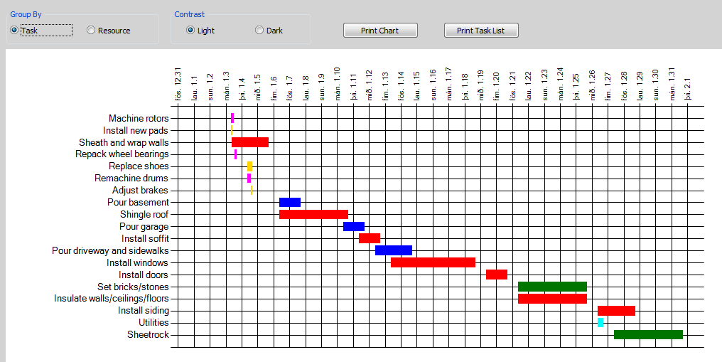 GANTT EXCEL FEATURES